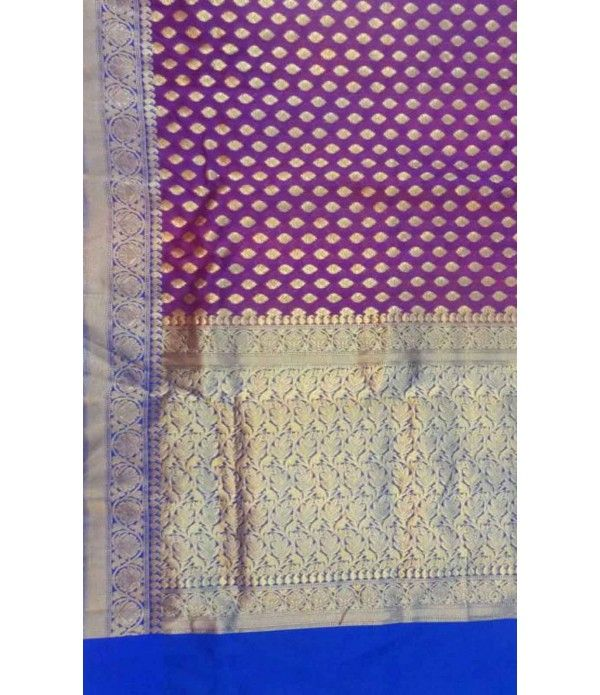 Purple and Blue Pure Banarasi Georgette Silk Saree
