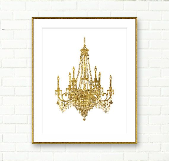 Chandelier print gold chandelier instant download for Dining room vintage wall art
