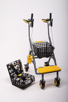 The multifunctional walker features switchable add-ons (shopping cart and a baby seat) and retains the basic functionalities of a walker, including regulated height.