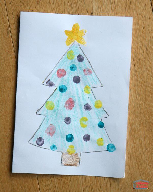 Une carte de Noël à faire faire par les tout-petits (peinture au doigt)