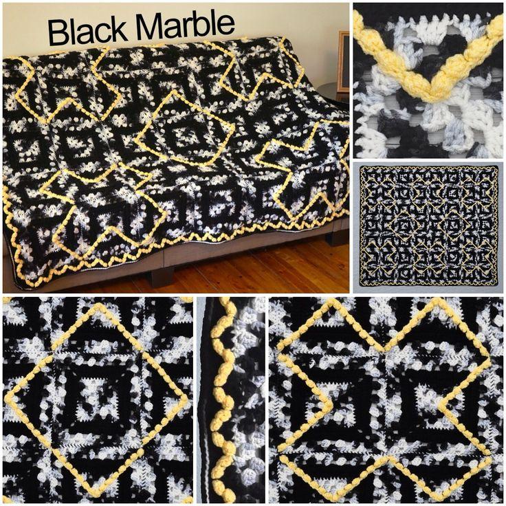 Черный мрамор #afghan Сью Solakian в Красное сердце Super Saver.  #crochet #geometric #blanket #modern