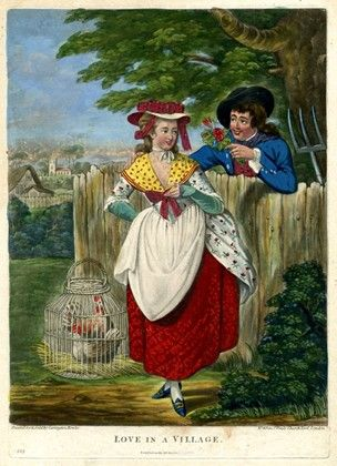 1784 -A young woman in rustic dress standing in a field with a cockerel in a cage near her feet, courted by a youth who leans over the fence behind to right, offering her a posy.  Hand-coloured mezzotint