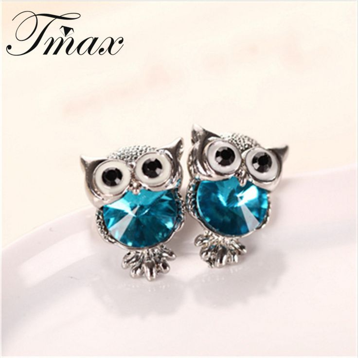 New Design Crystal Women Charms Owl Stud Earrings Cute Colors Fashion Jewelry White Gold Plated Trendy For Wedding Brincos 999
