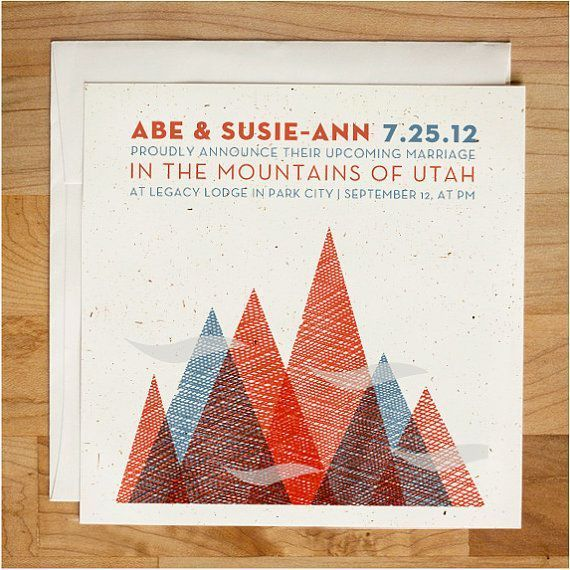 Wedding invite / Wedding invitation Textured Mountain Invitation Set via Etsy