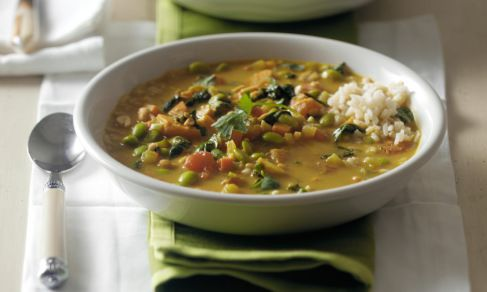 African Peanut Stew  This African-inspired dish is usually prepared with chicken, but this vegetarian version, using edamame, is super nutritious. In addition, the tomatoes, sweet potatoes and spinach infuse it with fiber, protein and antioxidants. Serve on rice for a hearty main dish.
