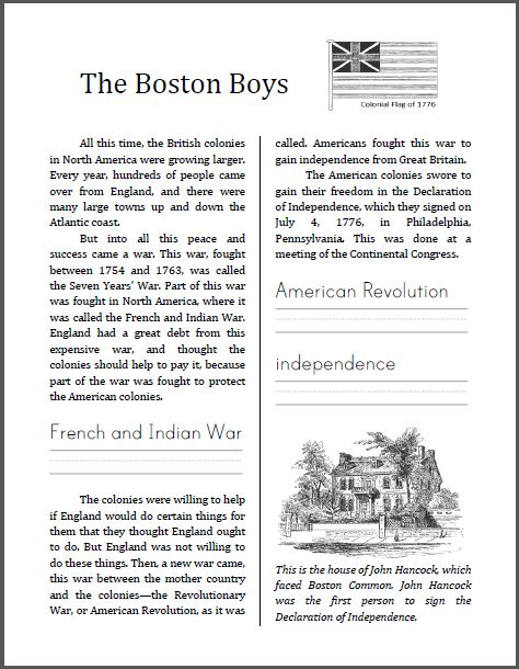 #free The Boston Boys - Free Printable (PDF) Workbook on the American Revolution | Here is the tenth workbook from America's Story for America's Children. This informational text is designed for students in grades 2-4, depending upon individual reading level. This workbook is seven pages in length, and includes work in history/social studies, spelling, handwriting, vocabulary, and reading comprehension.
