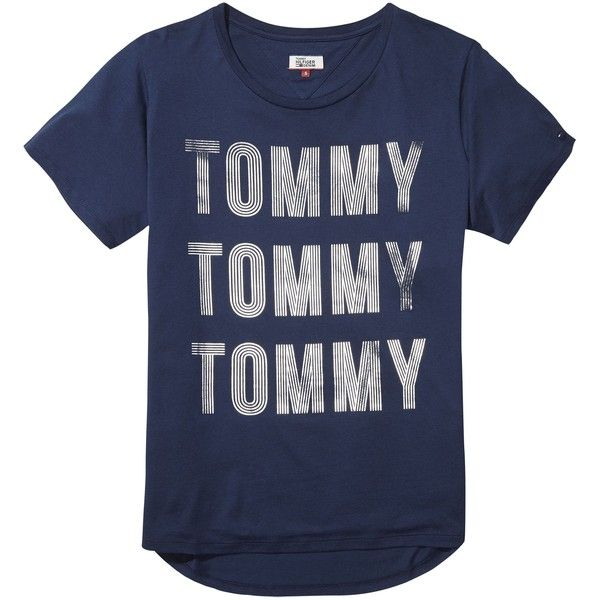 Tommy Hilfiger Foil Logo T-shirt ($52) ❤ liked on Polyvore featuring tops, t-shirts, women tops, blue top, short sleeve tee, blue tee, short sleeve t shirt and initial t shirts