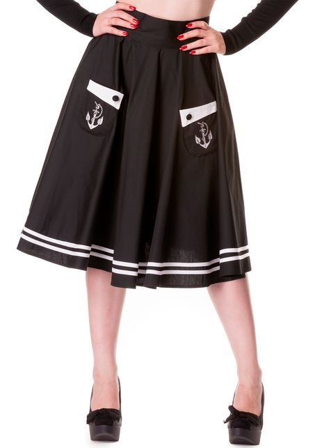 Anchored Black Skirt from Hell Bunny