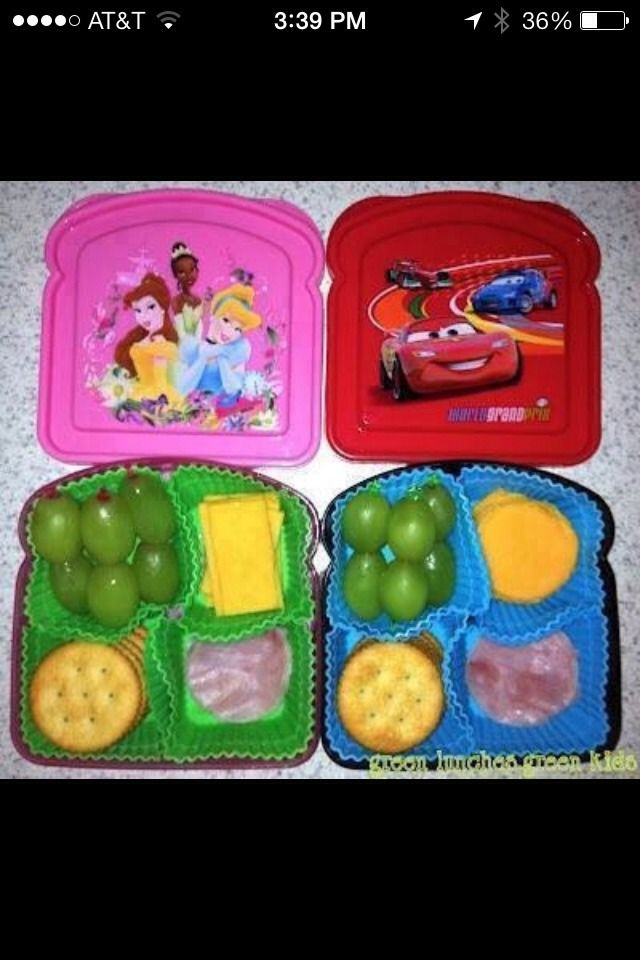 Use sandwich holders to hold all of the snacks. Use cupcake wrappers to fill with food. Much cheaper and healthier for you and your child!