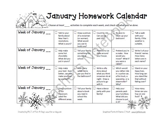 The  Best Homework Calendar Ideas On   Kindergarten
