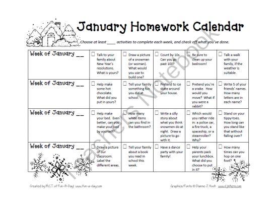 Homework Calendar Kindergarten : Best images about january on pinterest word problems