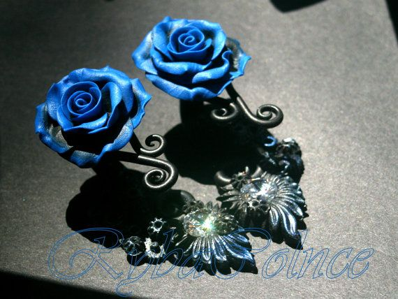 Rose earrings with zirconium 10 mm/  steampunk/Fake ear gauge