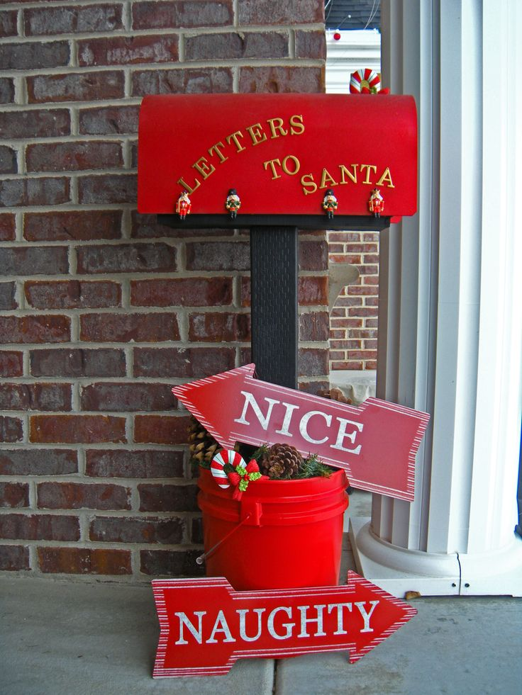 Another repurpose refurbish project done!!! An old mailbox found, sanded, painted, glittered, embellished then cemented into a stand.... another christmas tradition has begun.... kids and grandkids will personally send their letter to santa...  original by DD