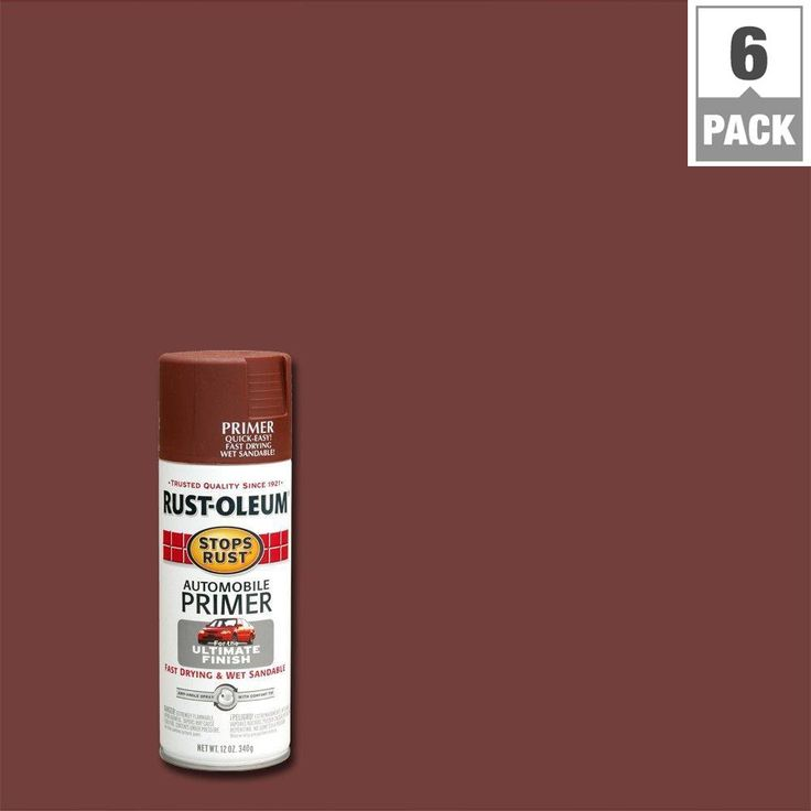 Rust-Oleum Stops Rust 12 oz. Flat Red Automotive Primer Spray Paint (6-Pack), Red Primer