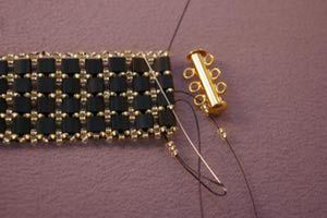 A Free and Fancy Tile Bead Bracelet Beading Pattern: Adding the clasp by using seed bead loops.