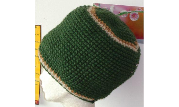 Bonnet rasta vert- Taille M www.maidmarioncreation.com