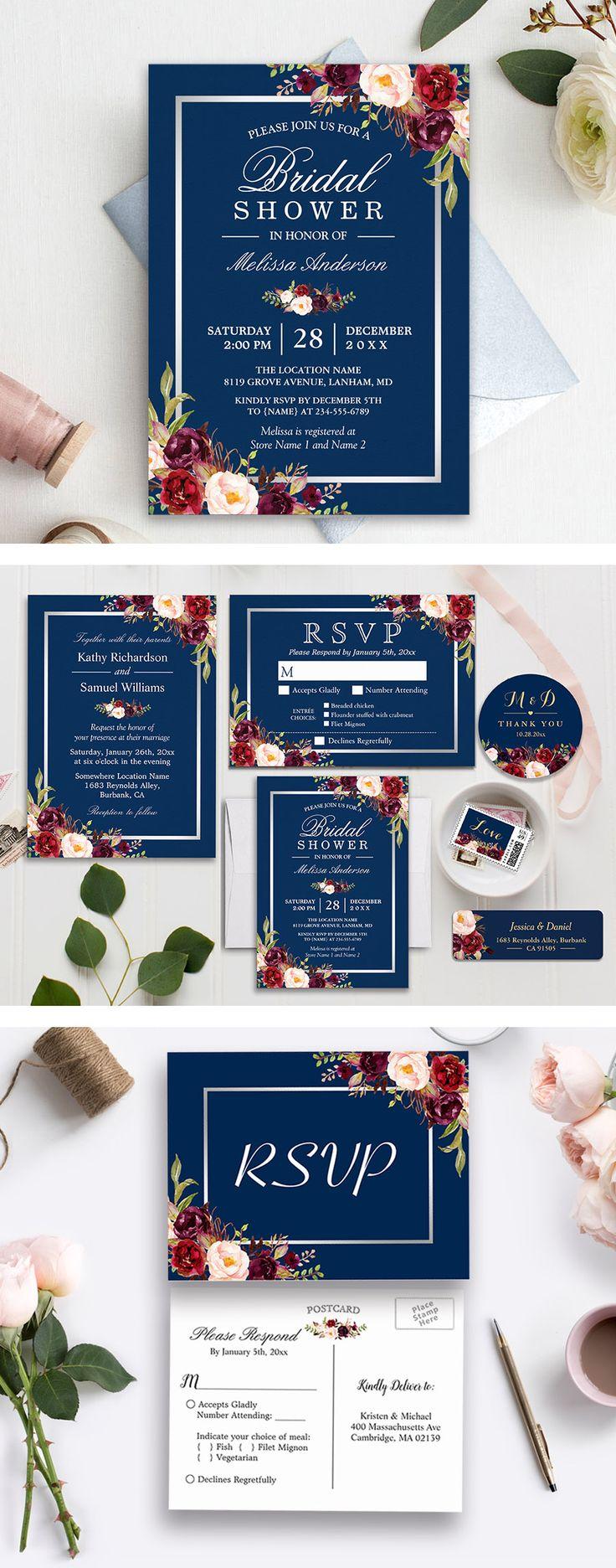 Shop Invitation Suite Burgundy Red Floral Navy