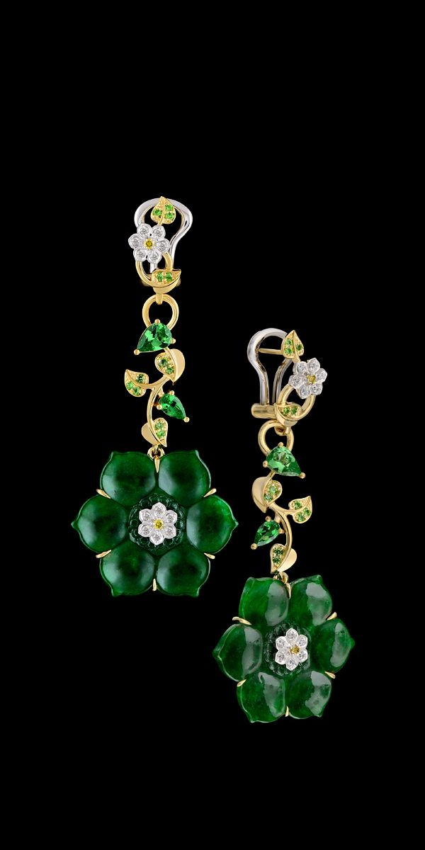 Diamond Flowers Earrings - 14K yellow and white gold, jadeite 15,09 ct, diamonds, yellow diamonds, tsavorite.