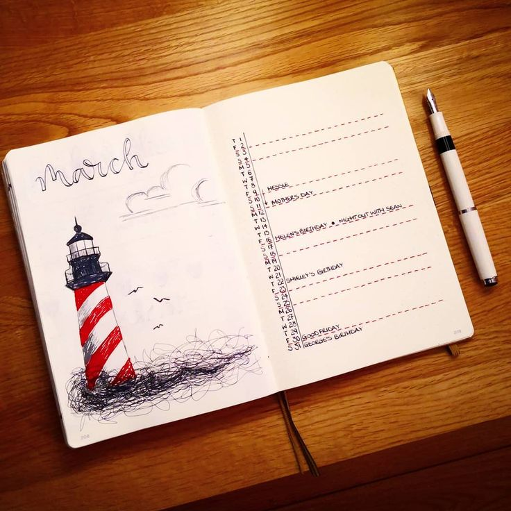 Bullet journal monthly cover page, March cover page, lighthouse drawing, bullet journal monthly calendar, linear calendar, vertical calendar. | @pagesbyleanne