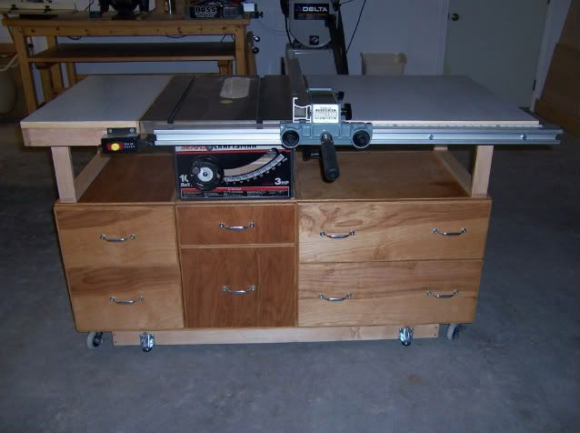 "Upgrade for the 10"" table saw. Possibly add a downdraft/router table to the right wing."