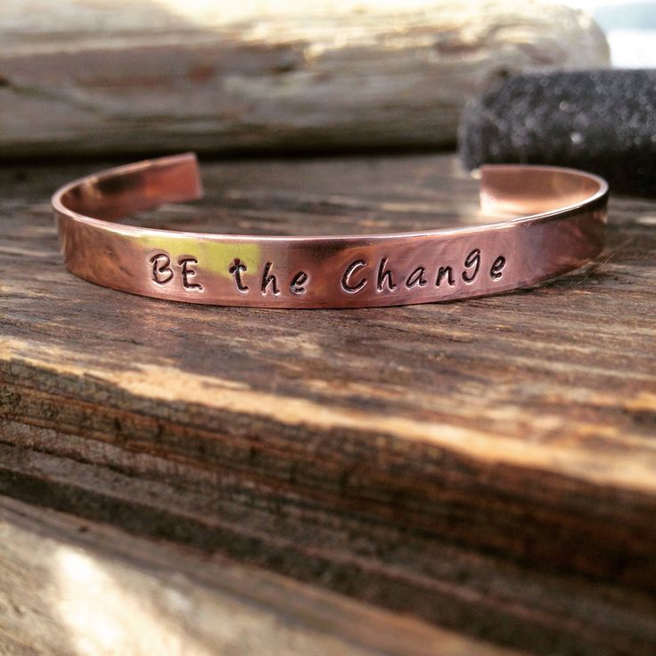 A personal favorite from my Etsy shop https://www.etsy.com/ca/listing/512677574/copper-hand-stamped-cuff-personalized