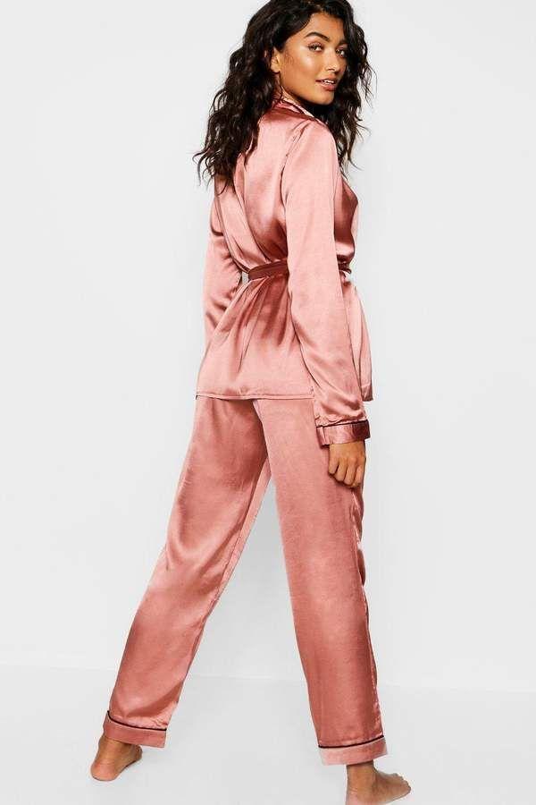 9217177d5df boohoo Satin Wrap Front Belted PJ Set #Wrap#Satin#boohoo | Women's ...