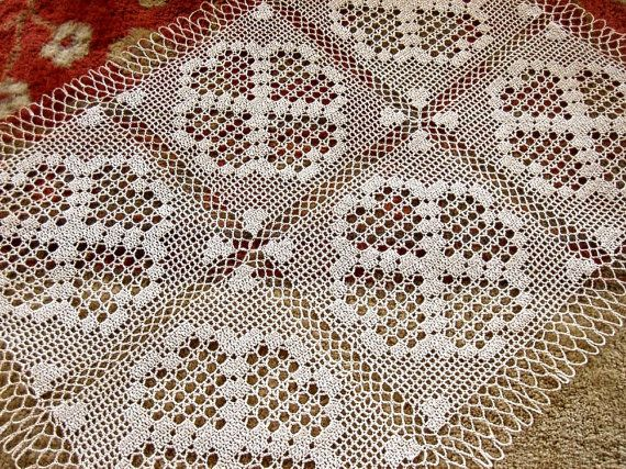 RUNNER Table Dresser Scarf Crocheted Lace Cotton Crochet