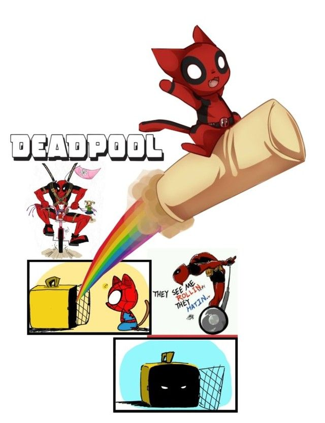 """DEADPOOL : spideypool kittens & a rainbow burrito"" by irresistible-livingdeadgirl ❤ liked on Polyvore featuring moda, emo, art, fandom, spiderman, deadpool, DC, harleyquinn, RyanReynolds y spideypool"