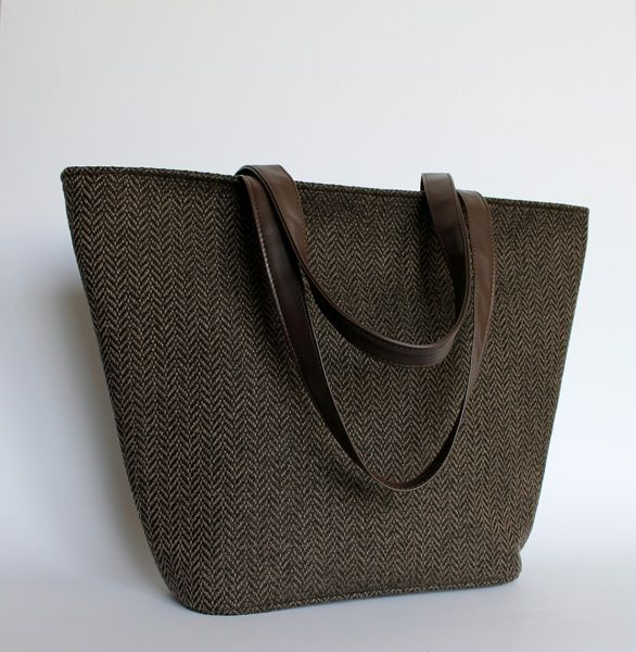 Shopper Bag - ŁÓDKA tkanina wełniana ciemny brąz - PracowniaTorebkiNiezwykle - Torby na ramię