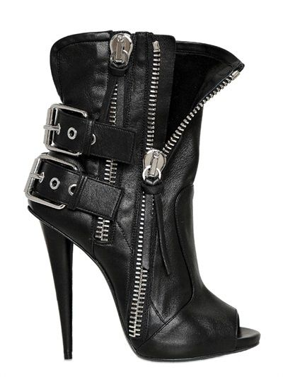 These Giuseppe Zanotti leather buckle & zipper closure peep toe biker booties will help you channel your inner bad girl $1,365, get it here: http://rstyle.me/~1O3vm