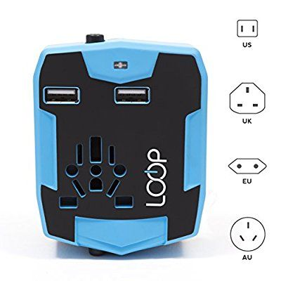 LOOP World Travel Adapter, Worldwide [US UK EU AU/CN] Charger with 3000mAh Power Bank, Dual Smart Power USB Charging Ports & Universal AC Socket - Safety Fused (Blue)
