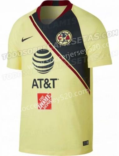 304af04559d 2018-19 Club America Home Yellow Thailand Soccer Jersey AAA