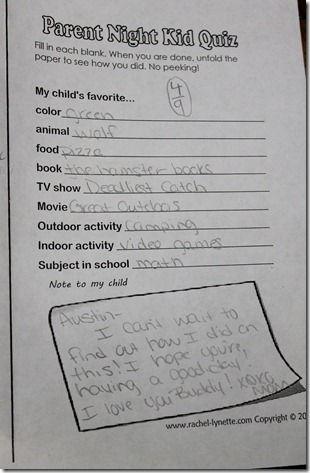 Open house quiz for parents