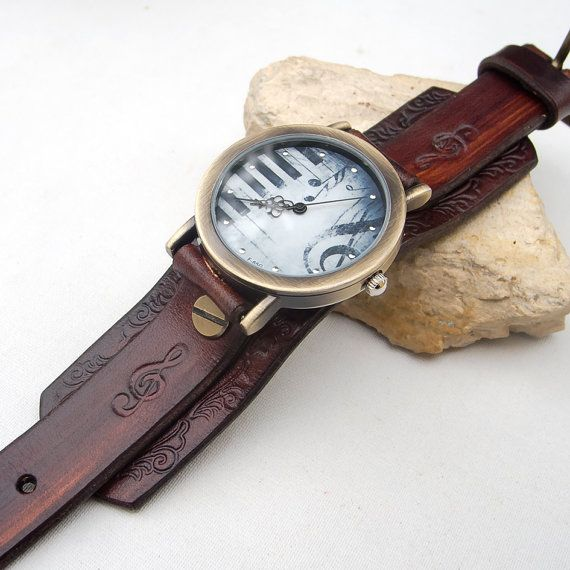 Women leather watch, Leather cuff watch, Chocolate brown cuff watch, Music watch, Women wrist watch, http://www.thesterlingsilver.com/product/seiko-womens-automatic-watch-seiko-5-symc07k1-with-metal-strap/