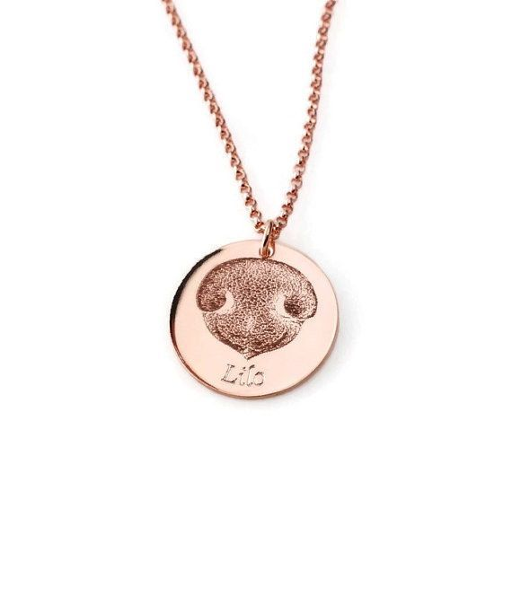 Adorable nose print dog necklace – perfect personalized gift for pet lovers!