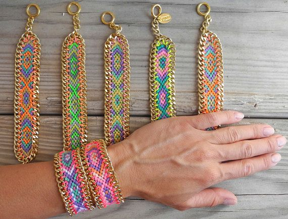 OOAK friendship bracelet in beautiful neon colors framed with gold plated chain