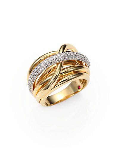 Roberto Coin - Diamond, 18K White & Yellow Gold Crossover Ring - Saks.com