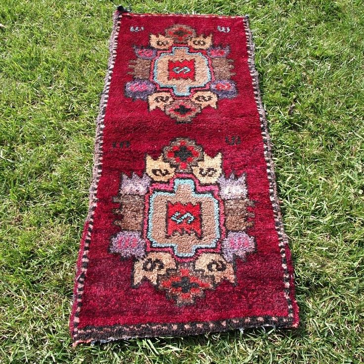 "18"" x 39"" Small Kilim, Handwoven Genuine Wool Rug, Vintage Traditional Red Rug #Traditional"