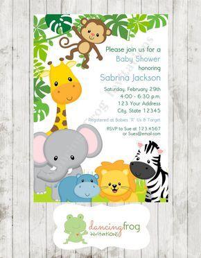Animales salvajes selva Safari invitaciones por DancingFrogInvites