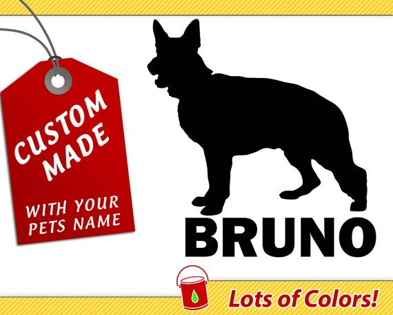 Personalized german shepherd breed vinyl decal with your dogs name any color custom dog