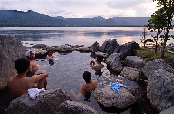 Picture of men in a hot spring near Lake Akan in Akan National Park, Hokkaido