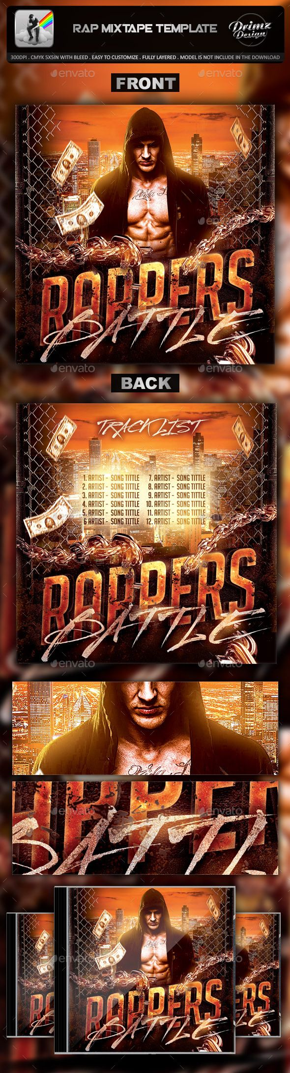 Rap Mixtape Template — Photoshop PSD #sweater #dvd • Available here → https://graphicriver.net/item/rap-mixtape-template/9401145?ref=pxcr