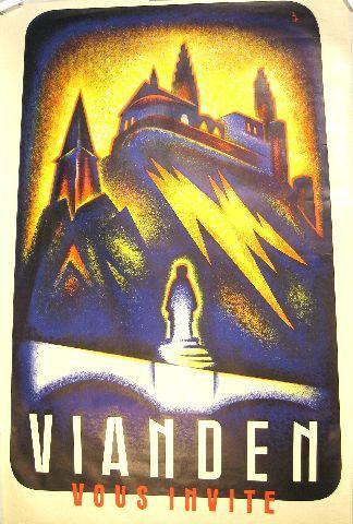 Vianden vous invite - circa 1935 Luxembourg vintage poster
