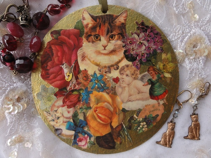 Decoupage Victorian Style Collage Art Decoration - flowers cats girl rose violets angel. $10.00, via Etsy.