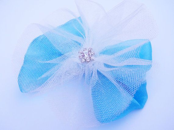 Ice Blue Princess Hair Bow  Snow Queen  by MissLottiesBoutique