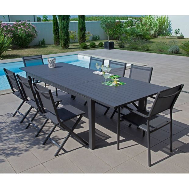 Table de jardin Trieste aluminium l200/280 L103 cm gris ...