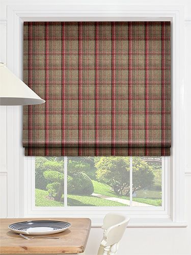 Livingston Plaid Red Roman Blind from Blinds 2go