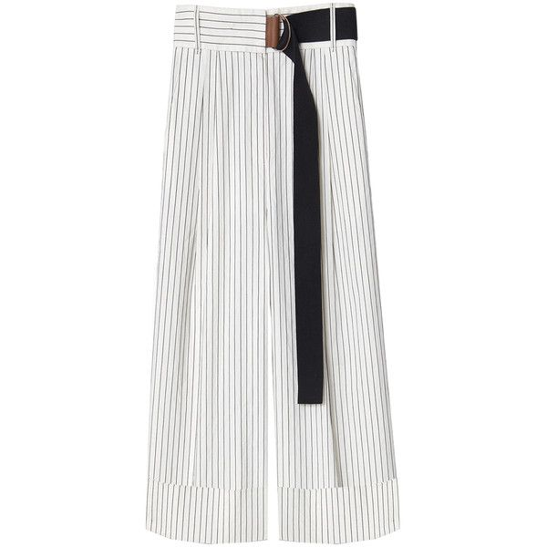 Tibi Cecil Stripe Cropped Pants ($238) ❤ liked on Polyvore featuring pants, capris, cropped capri pants, striped trousers, lightweight pants, white zipper pants and white pants