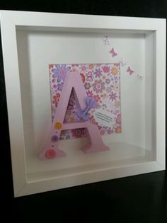 Personalised Baby Gift/Christening/Nursery, Letter Art Box Frame