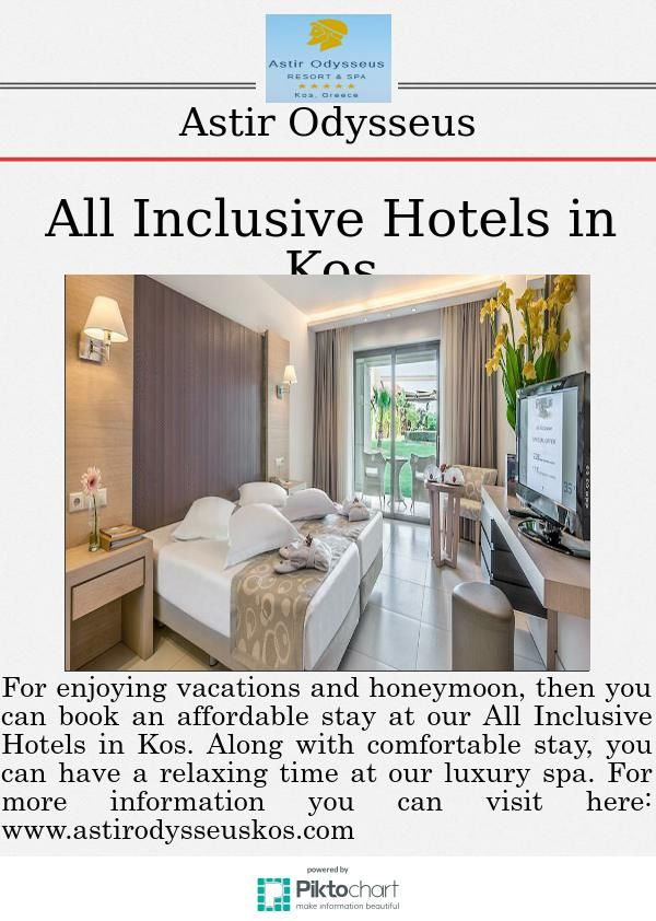 All Inclusive Hotels in Kos  For enjoying vacations and honeymoon, then you can book an affordable stay at our All Inclusive Hotels in Kos. Along with comfortable stay, you can have a relaxing time at our luxury spa.